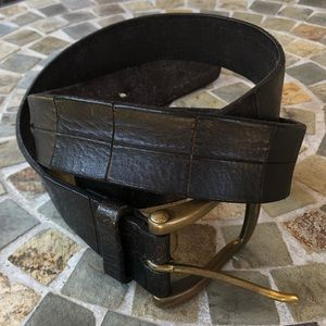 70s Patchwork Brown Leather belt